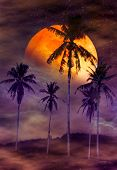 Red Moon Or Blood Moon With Many Stars And Clouds. Beautiful Night Landscape Of Colorful Sky With Su poster