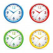 Collection of vector color bright wall clock .