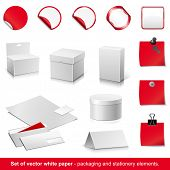 Set of vector white and red paper - packaging and stationery elements.