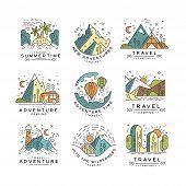 Travel Summertime Logo Design, Summer Vacation Emblem, Adventure, Travel, Tourism, Mountaineering An poster