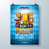 Oktoberfest Party Poster Illustration With Fresh Lager Beer, Pretzel, Sausage And Wheat On Blue And  poster