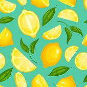 Lemon Pattern. Lemonade Exotic Yellow Juicy Fruit With Leaves Illustration Or Wallpaper Vector Seaml poster