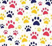 Cat Or Dog Paw Seamless Patterns. Backgrounds For Pet Shop Websites And Prints. Animal Footprint poster