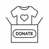 Clothes Donating Linear Icon. Thin Line Illustration. Donation Box With T-shirt. Used Clothes. Chari poster