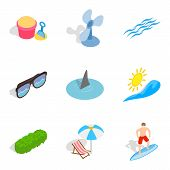 Peaceful Rest Icons Set. Isometric Set Of 9 Peaceful Rest Icons For Web Isolated On White Background poster