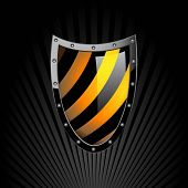 Illustration of the shield on a black background. Vector.