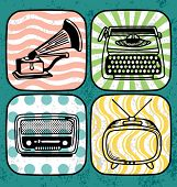 Vintage technology icon set