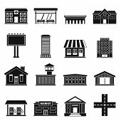 City Infrastructure Items Icons Set. Simple Illustration Of 16 City Infrastructure Items Icons For W poster