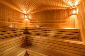 Sauna, Steam Bath Wooden Floor Ceiling poster