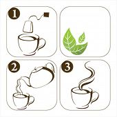 set of icons how to make tea