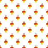 Bouquet In A Basket Pattern. Cartoon Illustration Of Bouquet In A Basket Pattern For Web poster