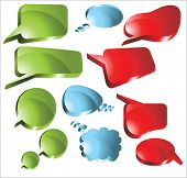 set of speech and thought bright glossy vector elements