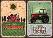 Farm House And Tractor Retro Poster For Farming And Agriculture Industry. Vector Vintage Design Of F poster