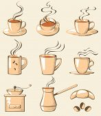 stock photo of hot coffee  - coffee set - JPG