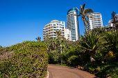 Beach Coastline Walkway Path Landscape With Flat Apartment Buildings Holiday Lifestyle  Coastline La poster