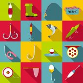 Fishing Tools Items Set. Flat Illustration Of 16 Fishing Tools Items Icons For Web poster