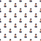 Male Avatar In Suit With Hat Pattern. Cartoon Illustration Of Male Avatar In Suit With Hat Pattern F poster