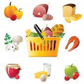 shopping basket and highly detailed food icons
