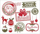 stock photo of ginger man  - set of Christmas stamp - JPG