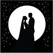 stock photo of night gown  - silhouette of a dancing couple married against the backdrop of the moon and the sky - JPG