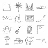Turkey Travel Icons Set. Outline Illustration Of 16 Turkey Travel Icons For Web poster