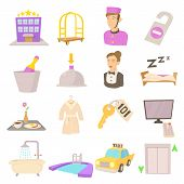 Hotel Items Set. Cartoon Illustration Of 16 Hotel Items Icons For Web poster