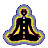 Meditation. Location of the chakras on the human body. Vector