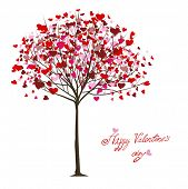 stock photo of valentines day card  - valentine tree with hearts - JPG