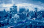 Double Exposure Of Stock Graph Market Exchange Data Trend Of Graph, Candle Stick Chart With Night Ci poster