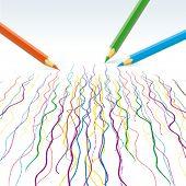 Vector  colour pencils drawing  wavy lines