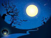 Ominous moon night.  Vector  illustration.