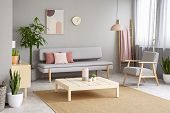 Poster And Plant In Living Room Interior With Armchair Next To Grey Sofa And Wooden Table. Real Phot poster