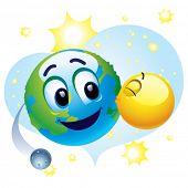 Sorrindo a bola tomando cuidado sobre terra