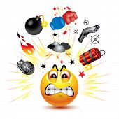 pic of angry smiley  - Smiley ball with symbols of  fight and anger - JPG