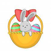 Easter Bunny Basket Icon. Cartoon Illustration Of Easter Bunny Basket Icon For Web poster