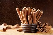 Heap Of Cinnamon Sticks And Ground Cinnamon With Dust Effect. Aromatic Spice. poster