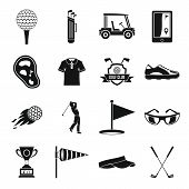 Golf Items Icons Set. Simple Illustration Of 16 Golf Items Icons For Web poster