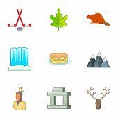 Canadian Culture Icons Set. Cartoon Illustration Of 9 Canadian Culture Icons For Web poster