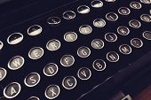 Close Up Of Vintage Typewriter Machine Keys On Writers Desk, Conceptual Image For Blogging, Publishi poster