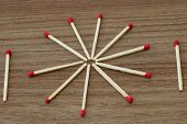 Match Stick. Unburnt Match Stick. Match Sticks On Wood Table. poster
