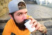 Man Bearded Hipster Enjoy Drink Paper Cup Urban Background. Hipster Drink Coffee To Go While Sit Sta poster