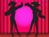 Welcome! Silhouette of two showgirls in cabaret.