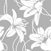 stock photo of lilly  - Vector lilly seamless pattern - JPG
