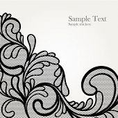 foto of lace  - Black lace vector design - JPG
