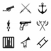Gun Icons Set. Simple Set Of 9 Gun Icons For Web Isolated On White Background poster