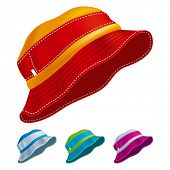 Set of colored panama hats. Vector Illustration