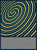 Optical Illusion Background. Three spiral patterns. Vector Illustration