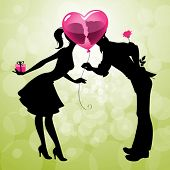 stock photo of flirtatious  - Illustration of a cute couple kissing behind heart - JPG