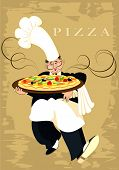 picture of italian food  - The chef serves pizza - JPG
