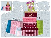 Jigsaw puzzle with shopping bags and gift boxes